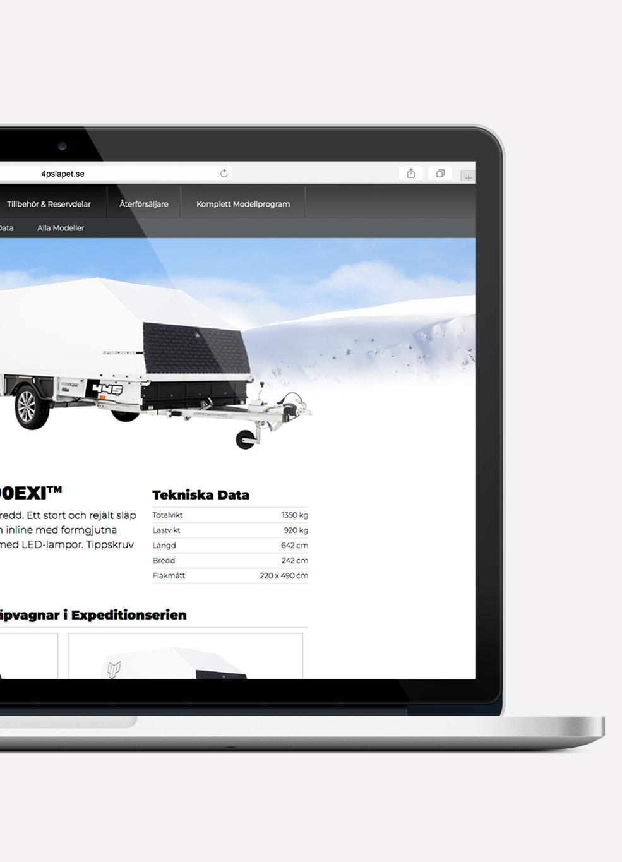 4P-släpet webbplats produktinformation