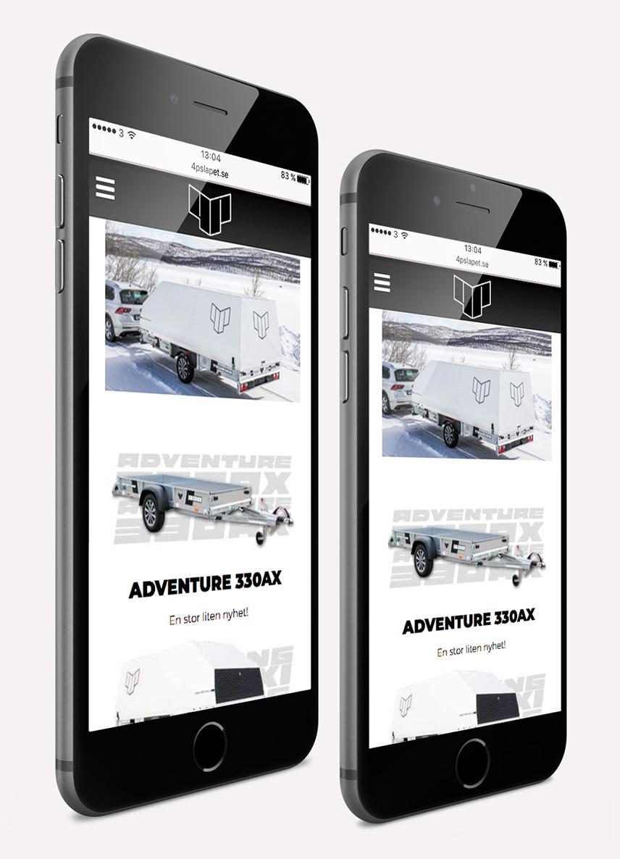4p-släpet webbplats i mobil - produktlistning