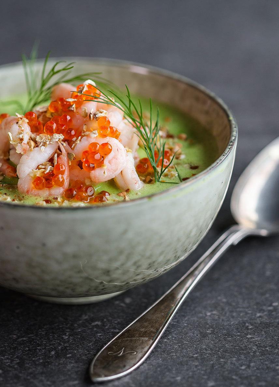 Findus hälsokampanj en grön soppa med räkor och rom på