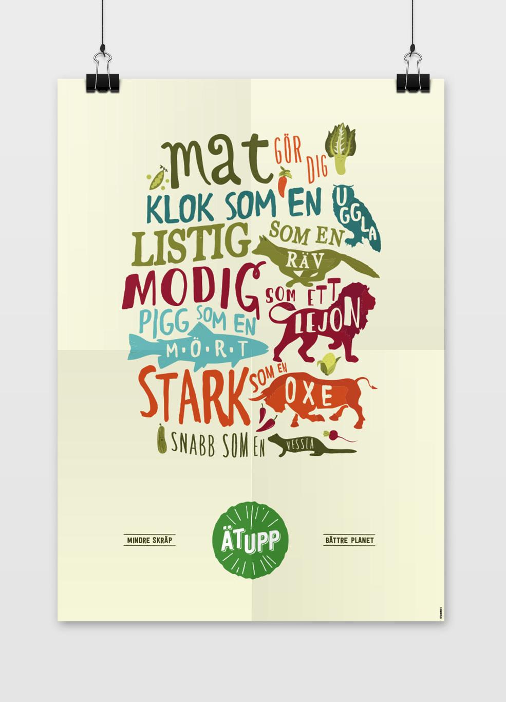 Findus illustration för kampanjen ät upp för att minska matsvinn.
