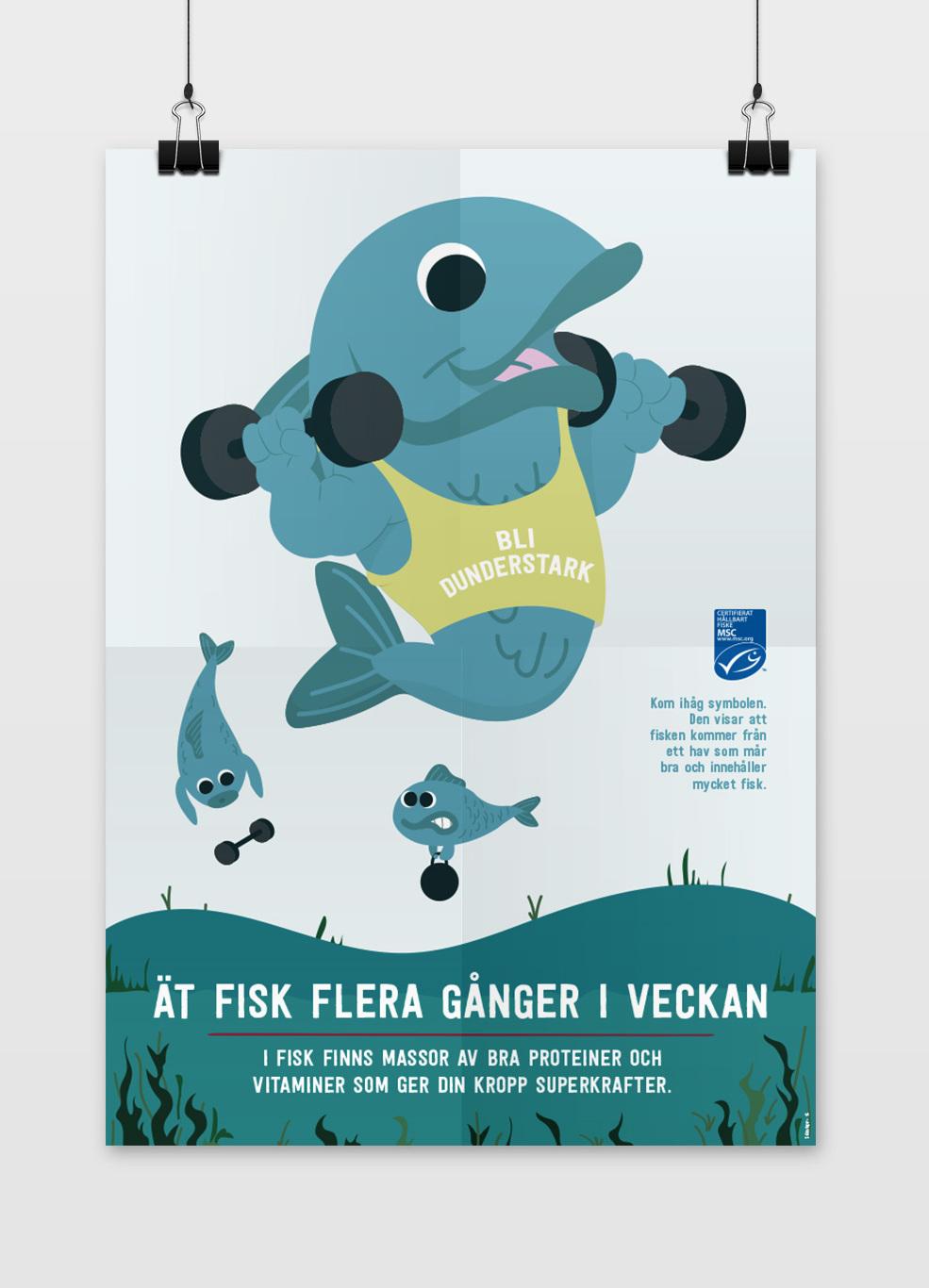 Findus illustration av fisk och dess fördelar som att den innehåller mycket protein