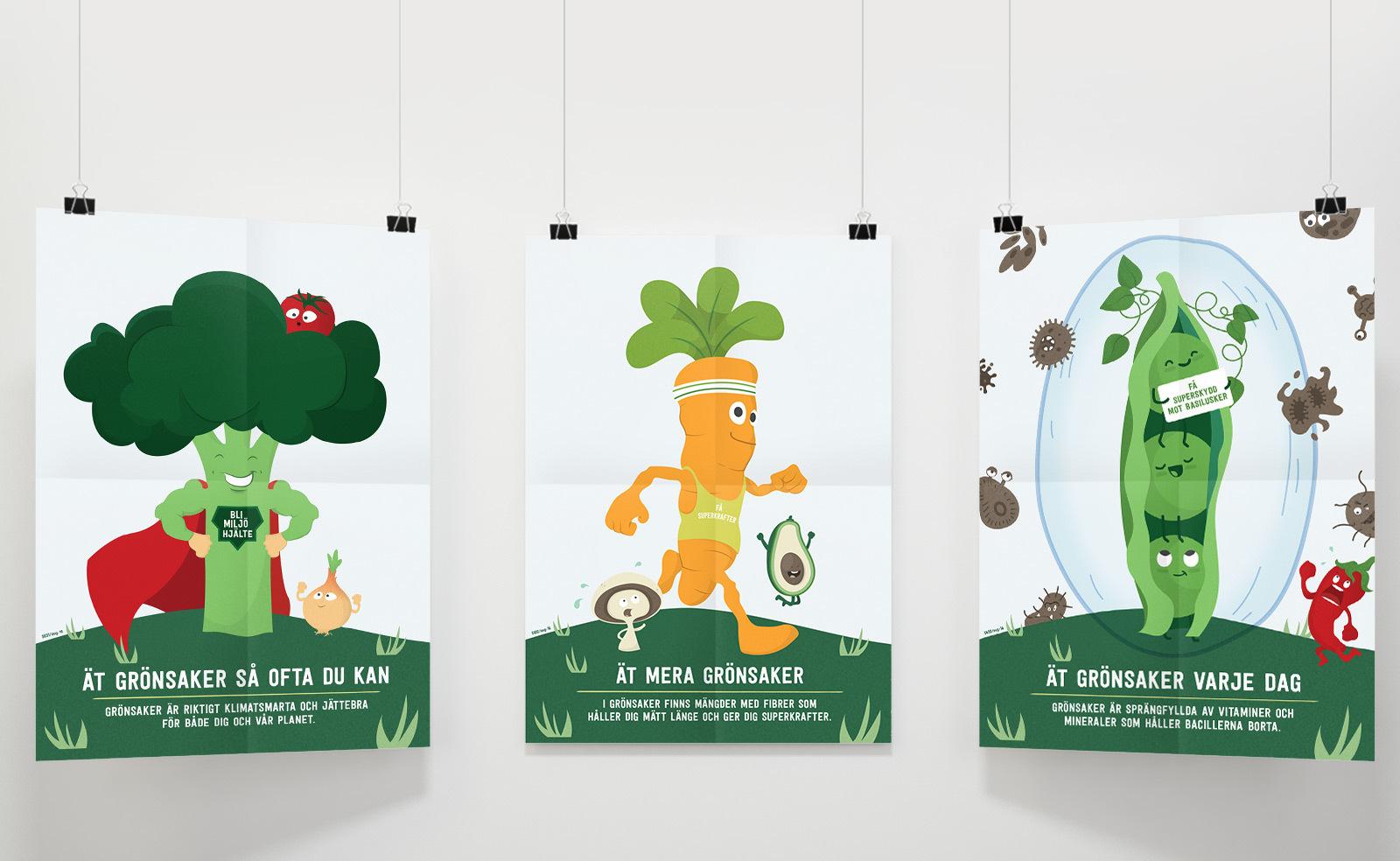 Findus illustrationer till skolor av superhjälte broccoli, morot och en ärtskida