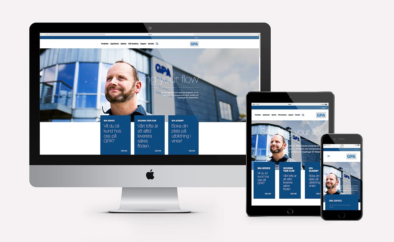 GPA webbplats - förstasidan i Mac, iPad och iPhone