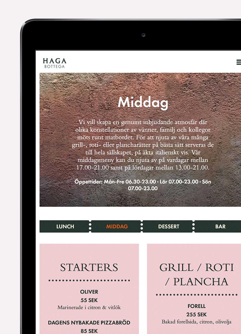 Italienska restaurangen Haga Bottegas webbplats meny på en iPad