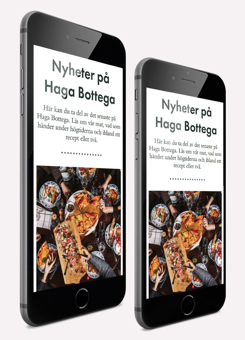 Italienska restaurangen Haga Bottegas webbplats nyhetsflöde i en iPhone