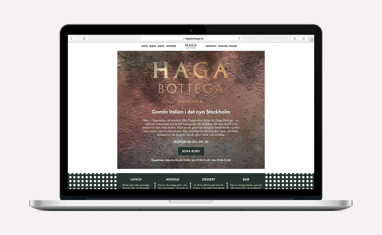 Italienska restaurangen Haga Bottegas webbplats förstasida i Apple Macbook