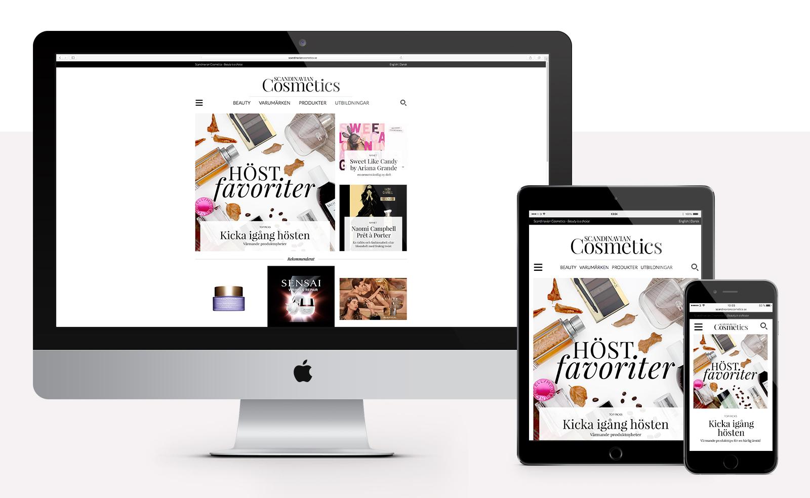 Scandinavian Cosmetics - Webbplats i desktop på Mac och mobile på iPad och iPhone