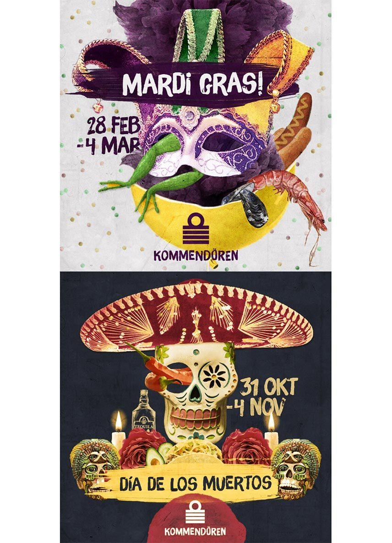 Kommendören flyers för Mardi Gras och Dia de los muertos