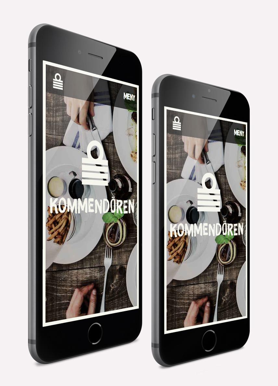 Restaurang Kommendören webbplats i iPhone