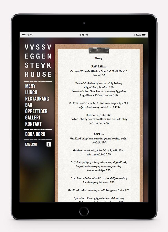 Vassa Eggens webbplats i iPad som visar menyn