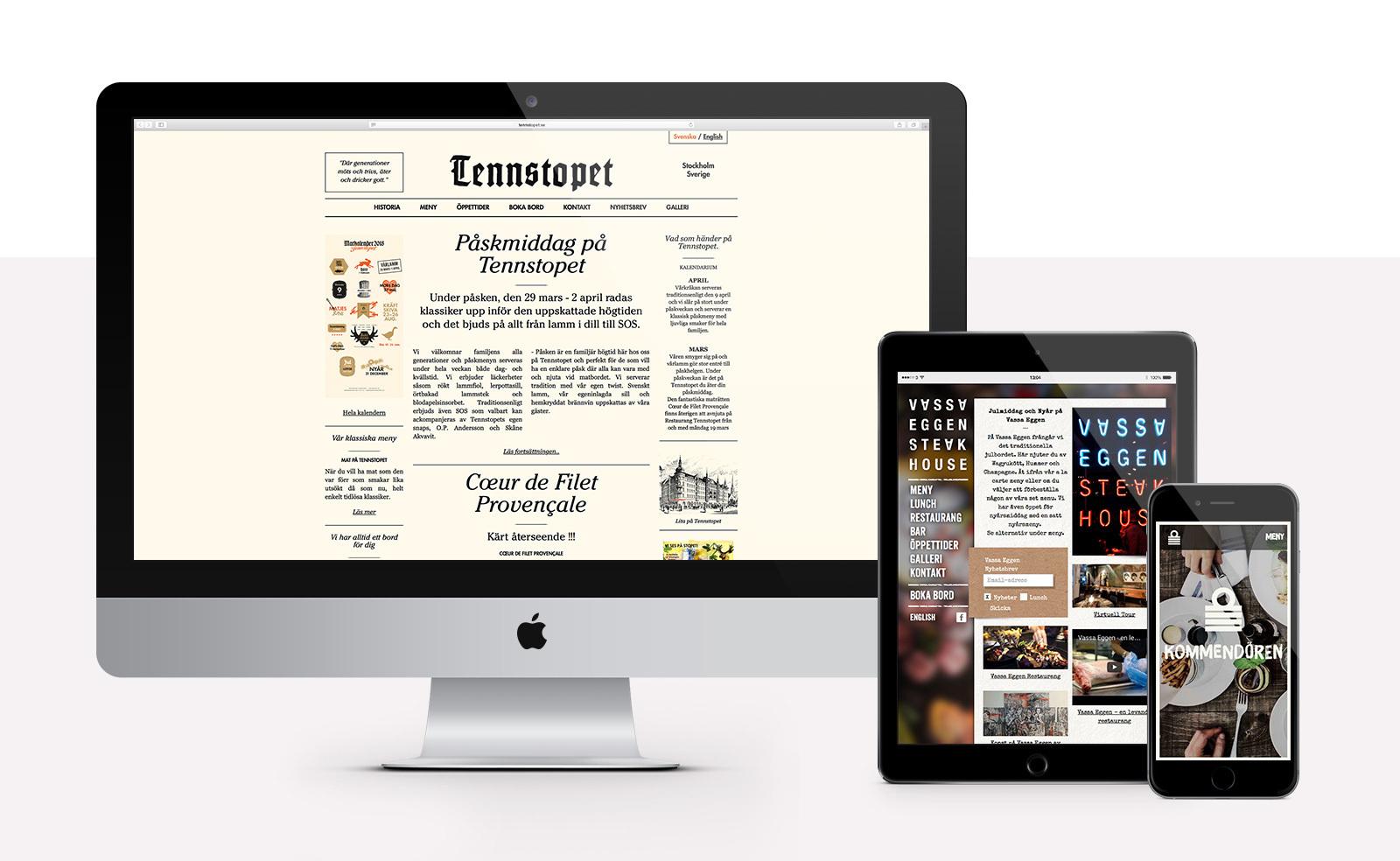 Stockholm Krogbolag - Webbplatser till Vassa Eggen, Tennstopet, Kommendören