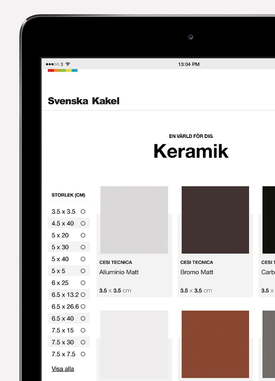 Svenska Kakel webbplats - Sortimentslistning keramik