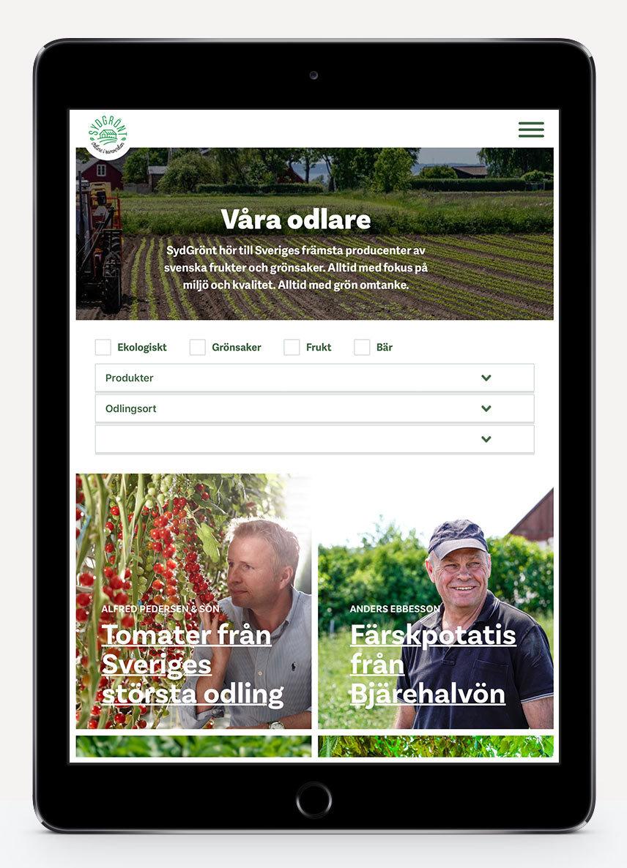 SydGrönt ny webbdesign listning av odlare