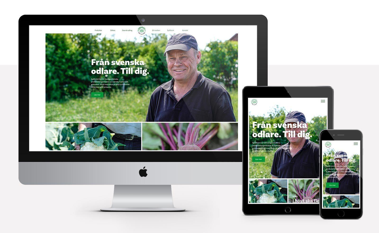 SydGrönt nya webbdesign förstasida