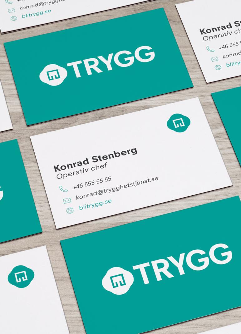 TRYGG app design av visitkort och grafisk profil